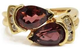 ESTATE 14KT YELLOW GOLD TOURMALINE  DIAMOND RING
