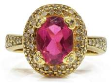 ESTATE 14KT YG DIAMOND  PINK TOURMALINE RING