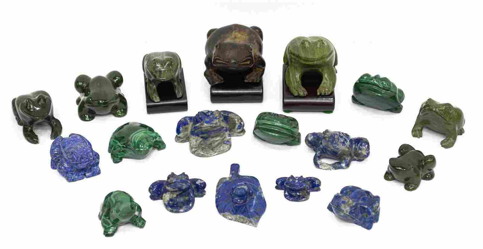 18) CARVED MALACHITE, JADE & OTHER HARDSTONE FROGS