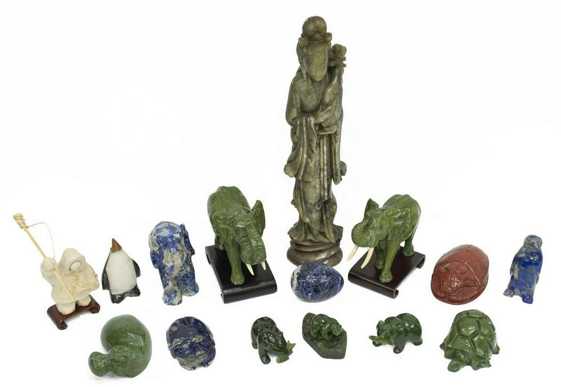 (15) COLLECTION CARVED STONE & HARDSTONE FIGURES