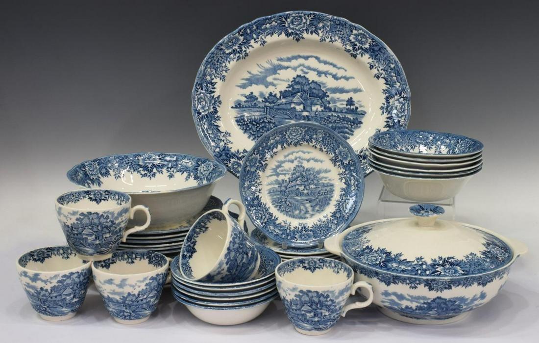 (43) OLD SALEM ENGLISH VILLAGE BLUE DINNER SERVICE