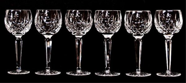 1: 6 WATERFORD LISMORE, CUT GLASS WINE GOBLETS
