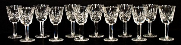 2: 12 WATERFORD LISMORE, CUT GLASS LIQUOR GLASSES