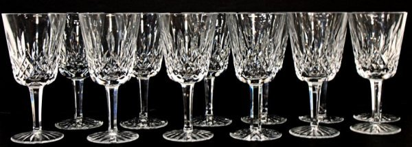 7: 12 WATERFORD LISMORE, CUT GLASS WATER GLASSES