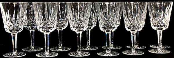8: 12 WATERFORD LISMORE, CUT GLASS WATER GLASSES