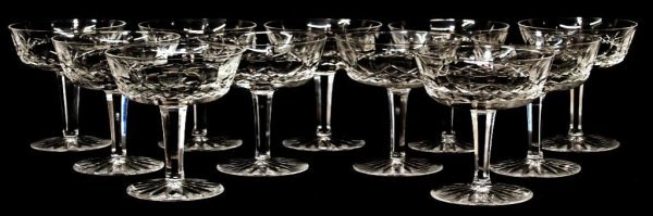 9: 11 WATERFORD LISMORE, CUT GLASS CHAMPAGNE GOBLETS