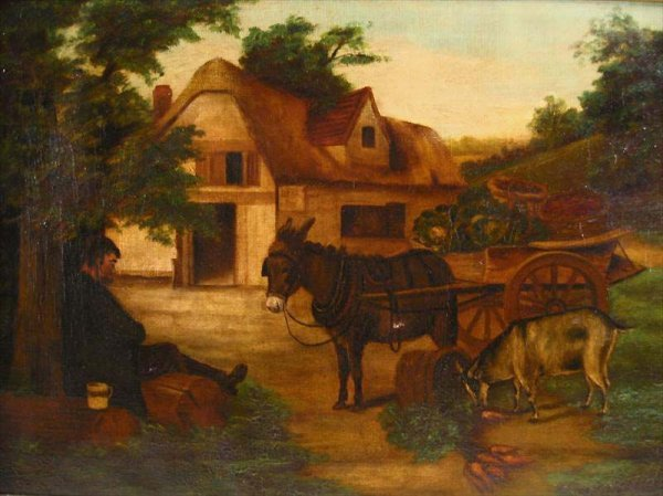 16: FRAMED OIL PAINTING, MAN RESTING WITH DONKEYS