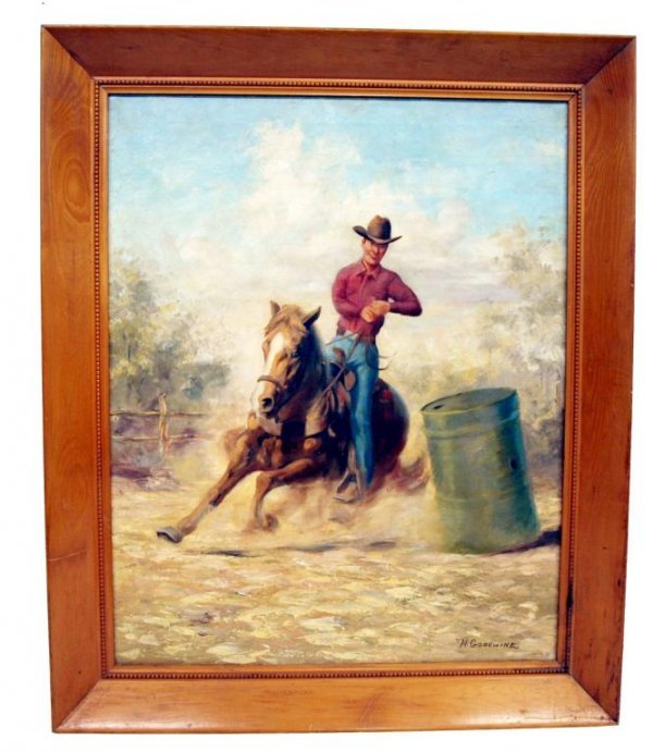 18: PAINTING, WESTERN COWBOY SCENE, SIGNED H. GOODWINE