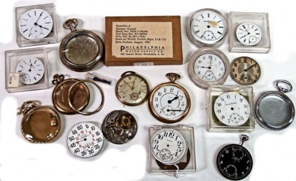 22: POCKET WATCH PARTS WITH DIALS, WORKS, CASES, MORE