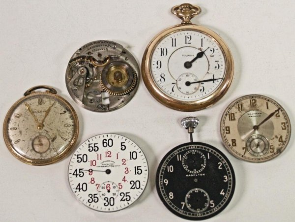 22: POCKET WATCH PARTS WITH DIALS, WORKS, CASES, MORE - 2