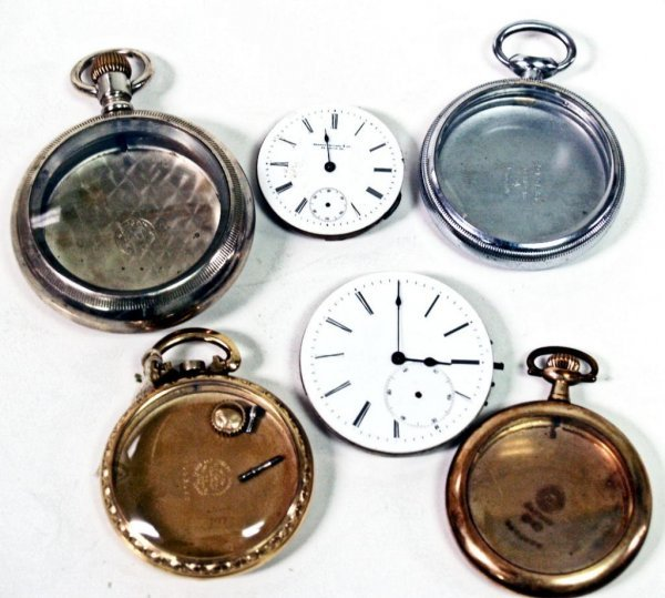 22: POCKET WATCH PARTS WITH DIALS, WORKS, CASES, MORE - 4