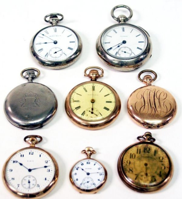 23: GROUP OF EIGHT ANTIQUE POCKET WATCHES