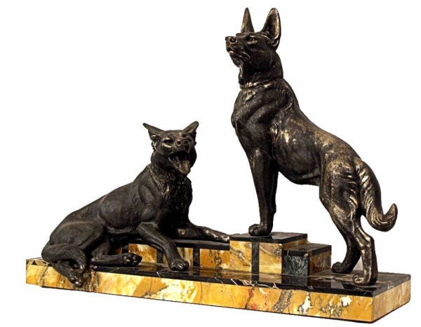 81: FRENCH ART DECO DOG SCULPTURE L CARVIN (1875-1951)