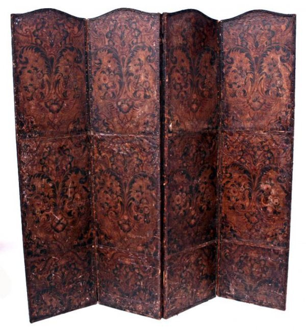 156: ANTIQUE EMBOSSED LEATHER THREE PANEL SCREEN
