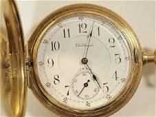 177 WALTHAM RIVERSIDE MAXIMUS POCKET WATCH 14KT GOLD