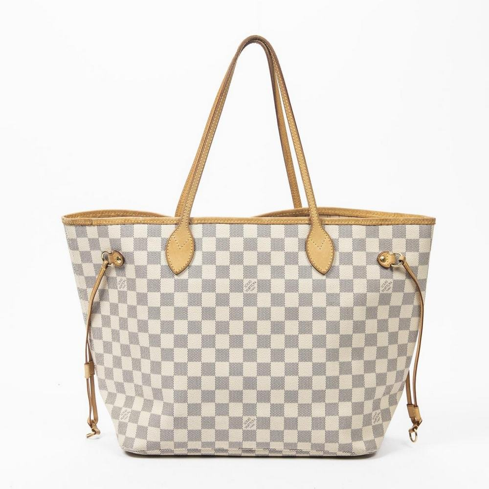LOUIS VUITTON 'NEVERFULL MM' DAMIER AZUR TOTE BAG