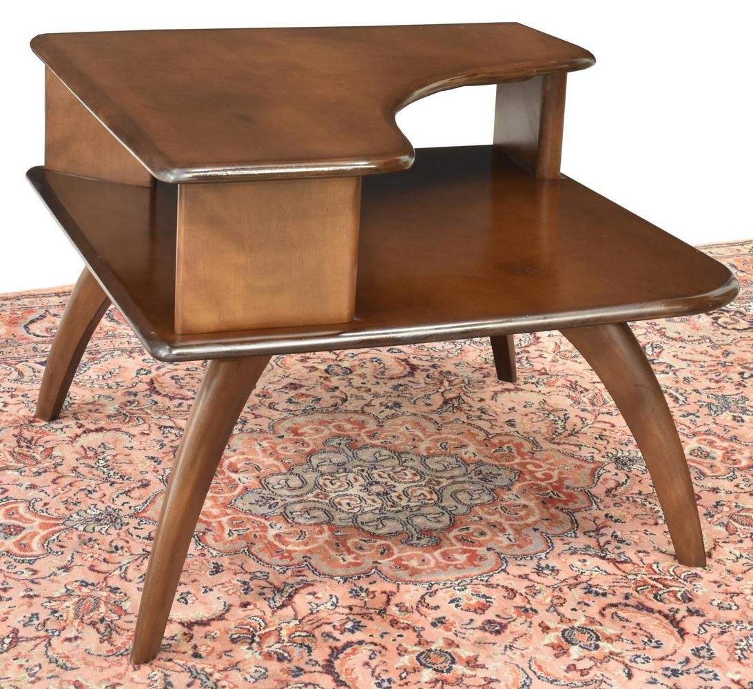 HEYWOOD WAKEFEILD MID-CENTURY 2-TIER CORNER TABLE