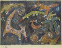 FRAMED ABSTRACT ANIMALS SIGNED PAINTING ON PAPER