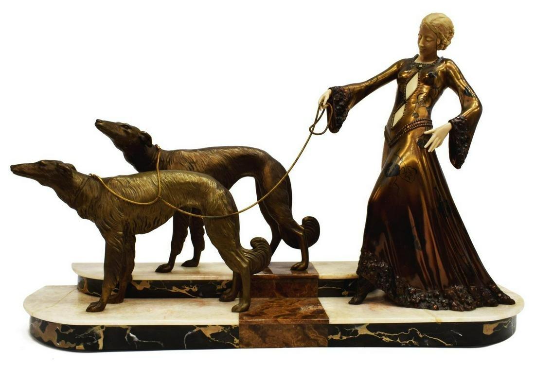 ART DECO GEORGES GORI SCULPTURE WOMAN W/ BORZOIS