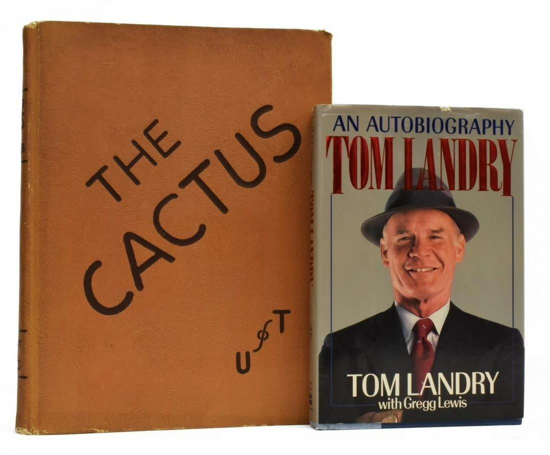 (2) TOM LANDRY SIGNED BOOK & TEXAS YEARBOOK PICS