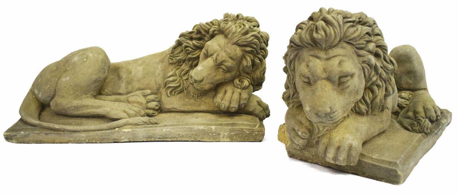 (2) GARDEN STATUARY CAST STONE RECUMBENT LIONS