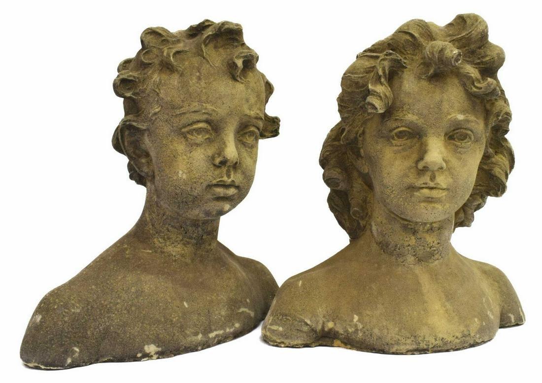 (2) GARDEN STATUARY CAST STONE BOY & GIRL BUSTS