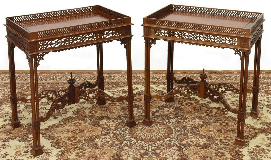 (2) CHINESE CHIPPENDALE STYLE CARVED SIDE TABLES