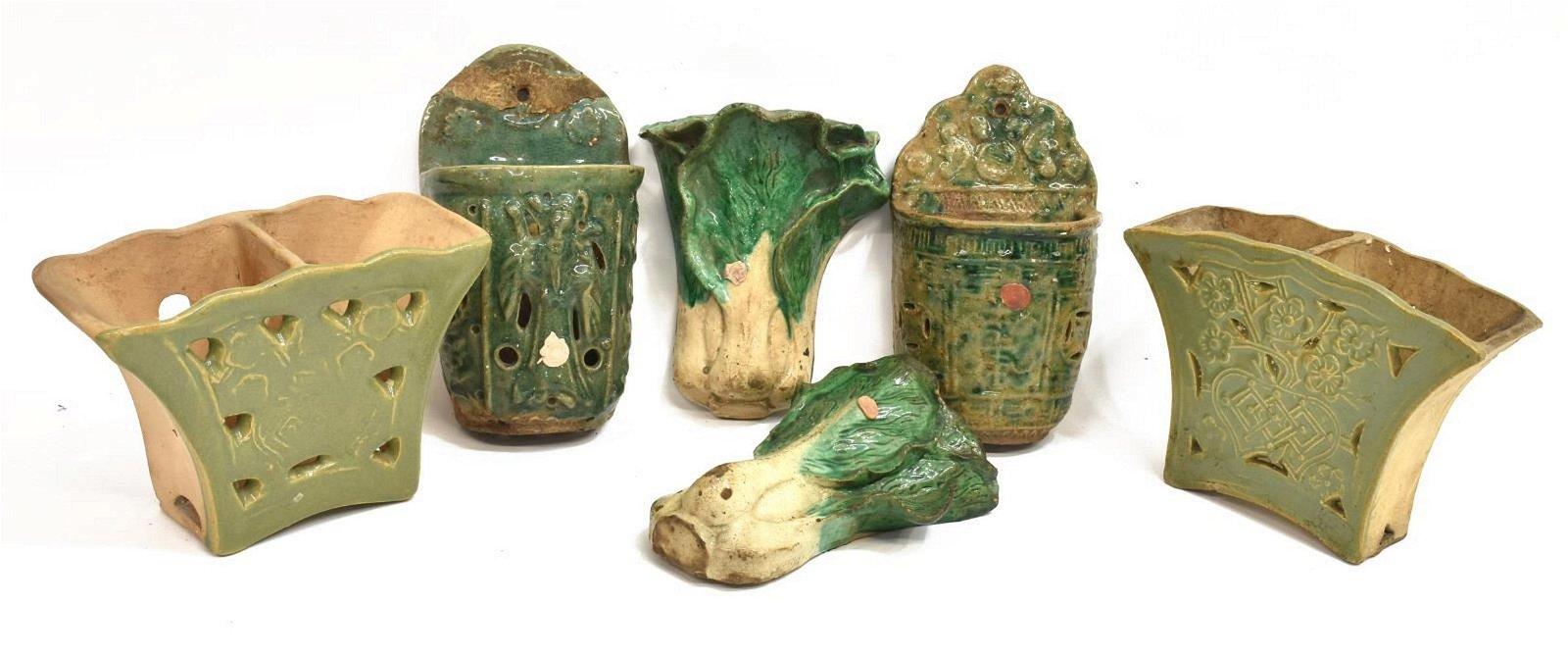 (6) CHINESE GREEN GLAZED CERAMIC WALL POCKETS