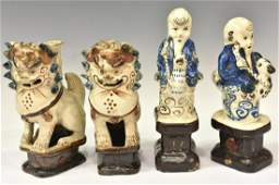 (4) CHINESE FIGURAL GLAZED CERMAIC INCENSE HOLDERS
