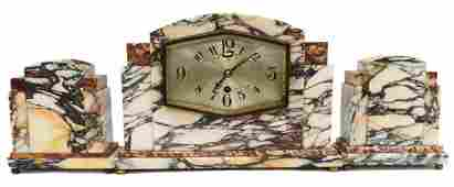 UCRA FRENCH ART DECO MARBLE MANTEL CLOCK SET
