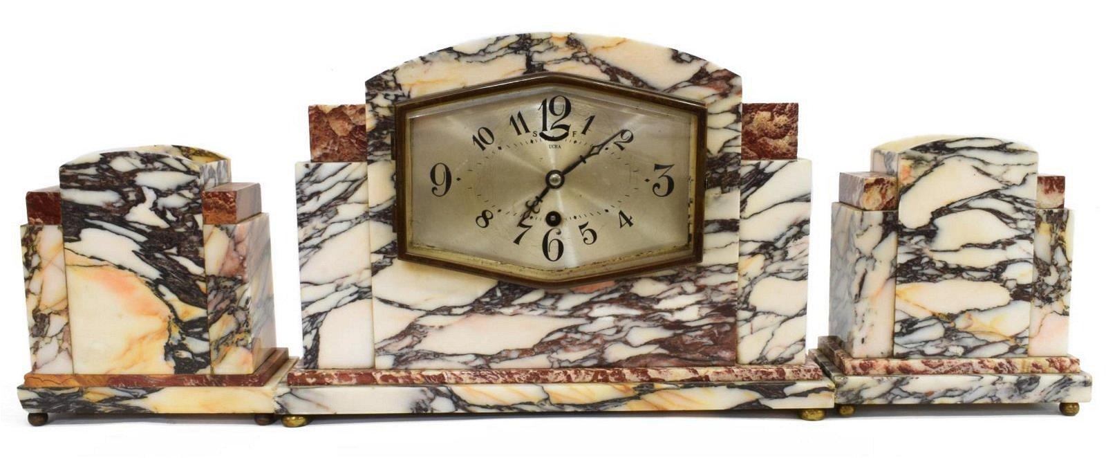 UCRA FRENCH ART DECO MARBLE MANTEL CLOCK SET