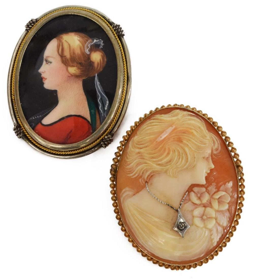 (2) LADIES 10K CAMEO & 800 SILVER PENDANT BROOCHES