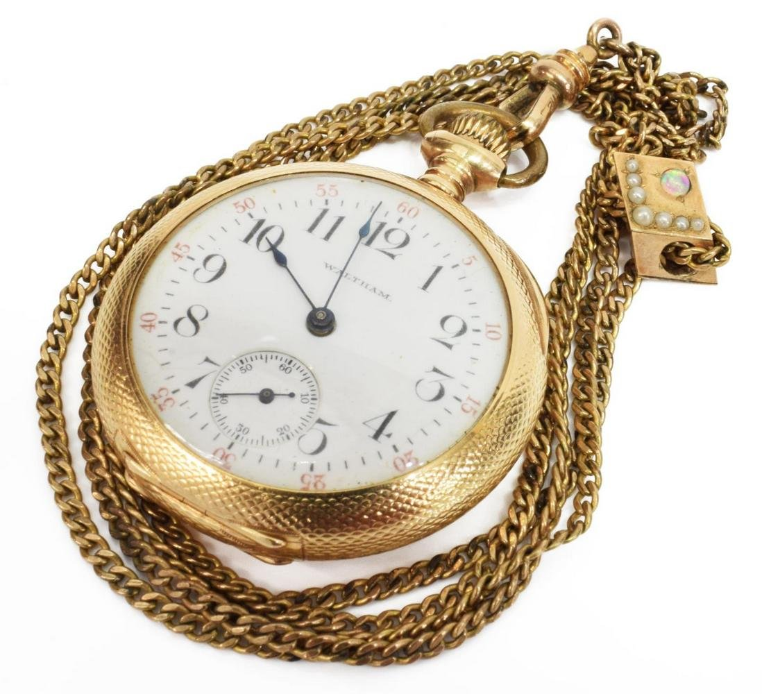 LADIES WALTHAM 14KT GOLD POCKET WATCH & FOB CHAIN