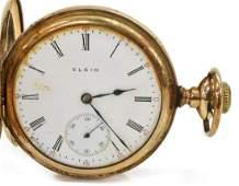 ELGIN 14KT GOLD-FILLED HUNTER CASE POCKET WATCH