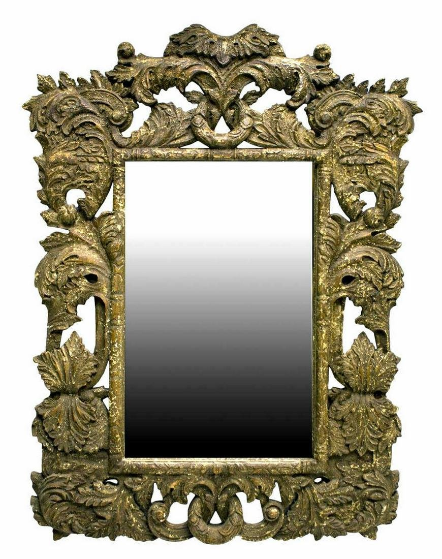 "BRITISH COLONIAL HEAVILY CARVED MIRROR, 55"" X 41"""