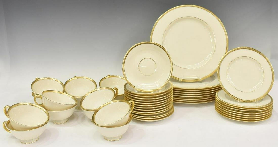 (49) LENOX 'TUXEDO' GOLD BANDED BONE CHINA SERVICE