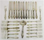 (27) ART NOUVEAU WHITING 'LILY' STERLING FLATWARE