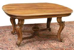 FRENCH LOUIS XV STYLE CARVED WALNUT DINING TABLE