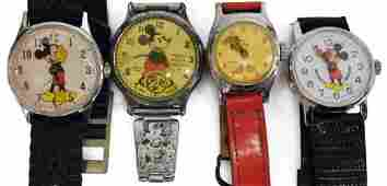 4 DISNEY MICKEY MOUSE ANIMATED WATCHES INGERSOLL