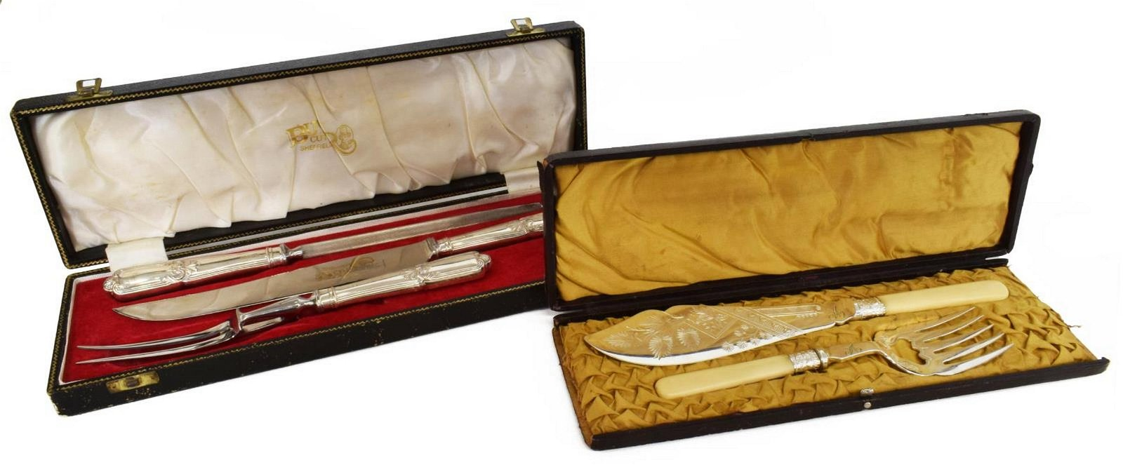 (5) ENGLISH STERLING & SILVER PLATE BOXED FLATWARE