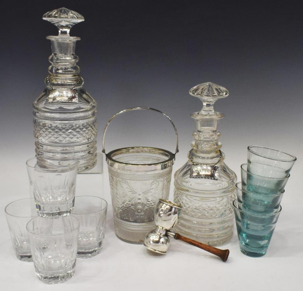 (12) BARWARE INCL. DECANTERS, ICE BUCKET, JIGGER