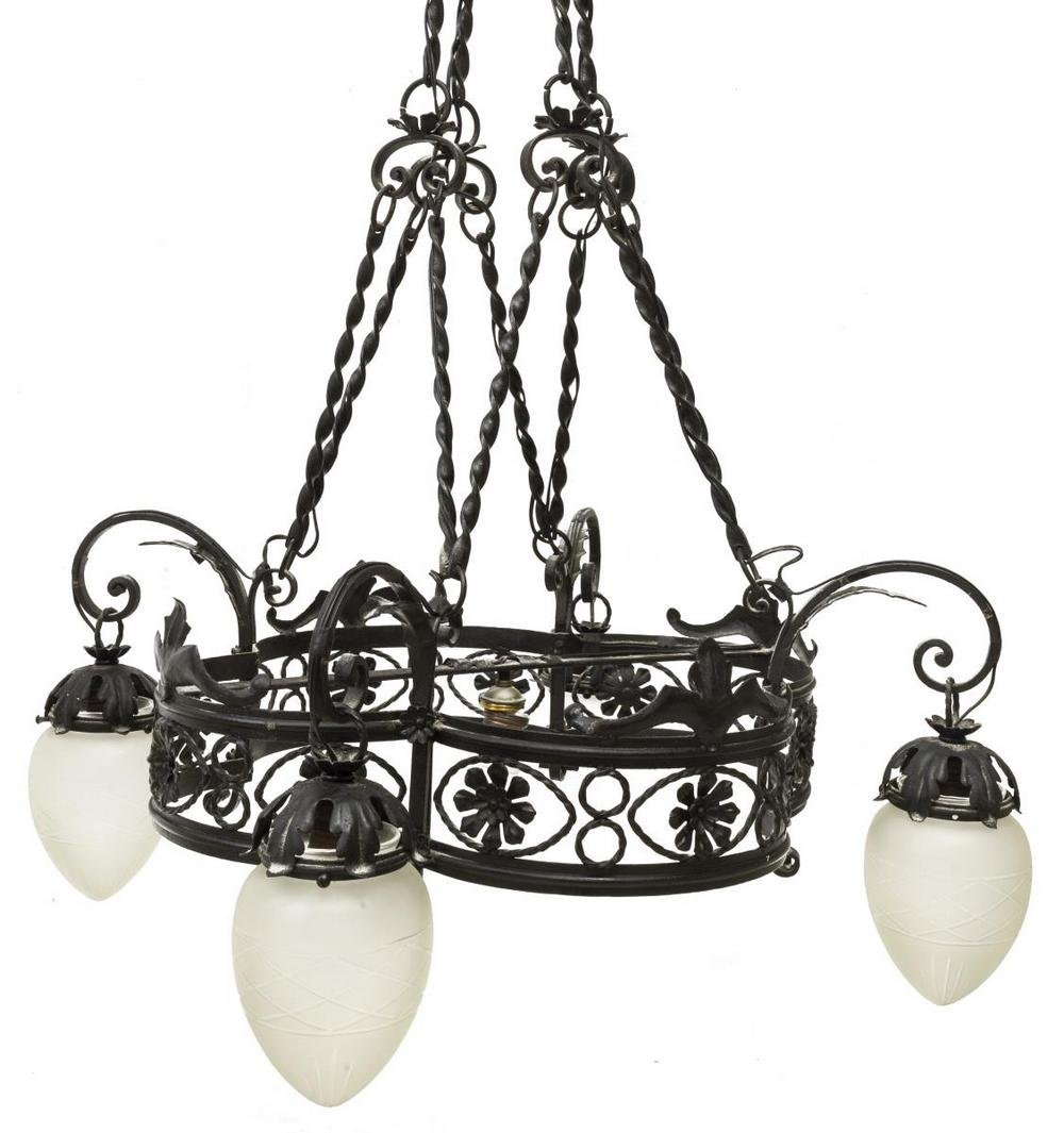 SCROLLED WROUGHT IRON FIVE-LIGHT CHANDELIER