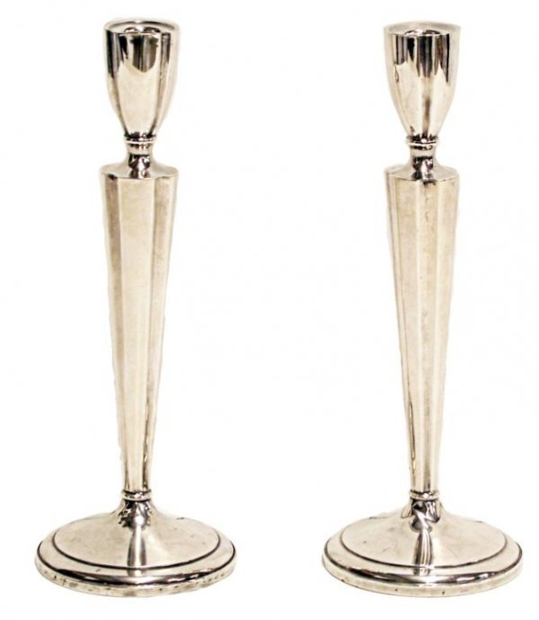 403: STERLING SILVER WEIGHTED CANDLESTICKS