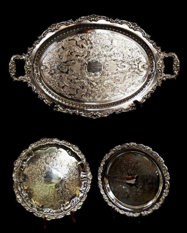 404: LOT OF LARGE SILVER PLATE SERVING TRAYS / SALVER