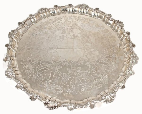 411: SPAIN SILVER BALL & CLAW FOOT SERVING TRAY