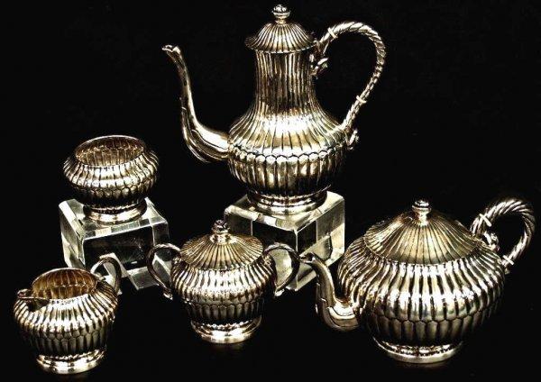 412: STERLING SILVER COFFEE & TEA SET SANBORNS, MEXICO