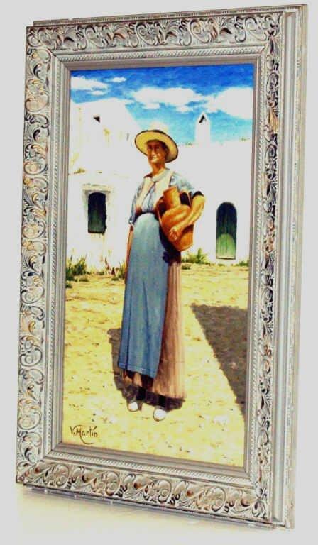 419: SPAIN OIL ON CANVAS, PORTRAIT OF WOMAN, V. MARTIN