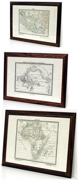 421: GROUPING OF FRAMED SPANISH DECORATIVE MAPS