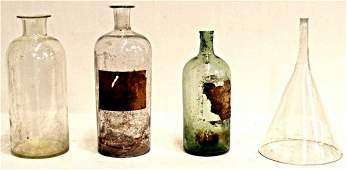 536: LARGE ANTIQUE SPAIN APOTHECARY BOTTLES & FUNNEL