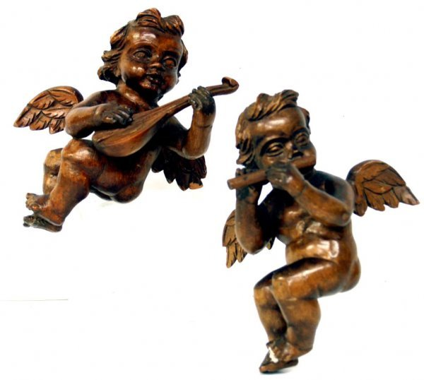 733: ANTQUE SPAIN HAND CARVED WOOD MUSICAL CHERUBS
